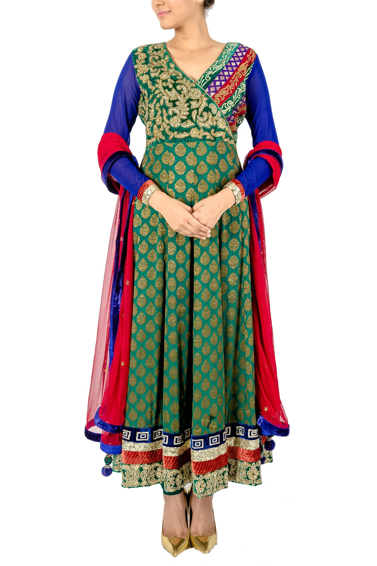 This green anarkali with blue sleeves has hand embroiderey all over bodice to give it a festive look.