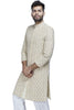 Weaving stories with sentiments - this ivory cotton sherwani transcends time with its white, gold and maroon threadwork.