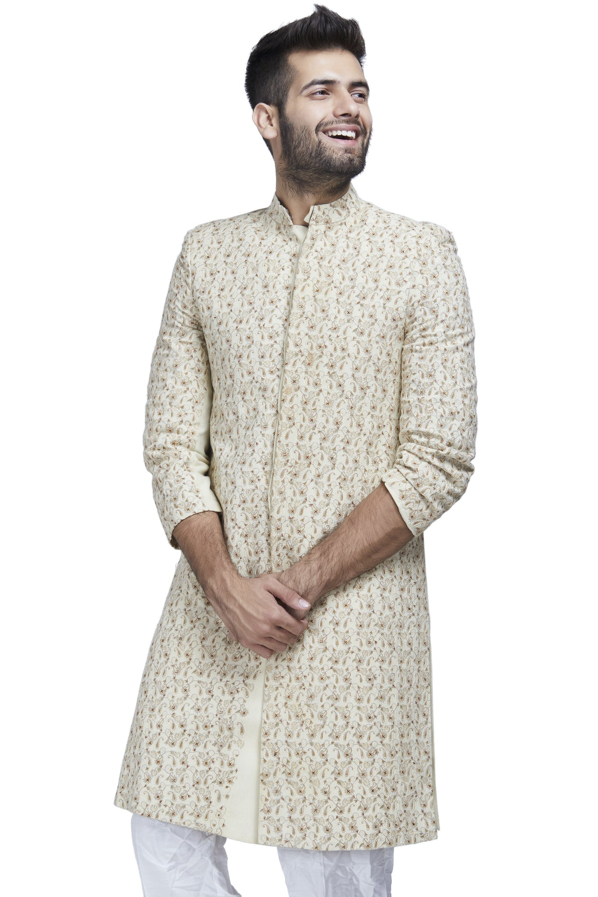 Ivory threadwork sherwani set