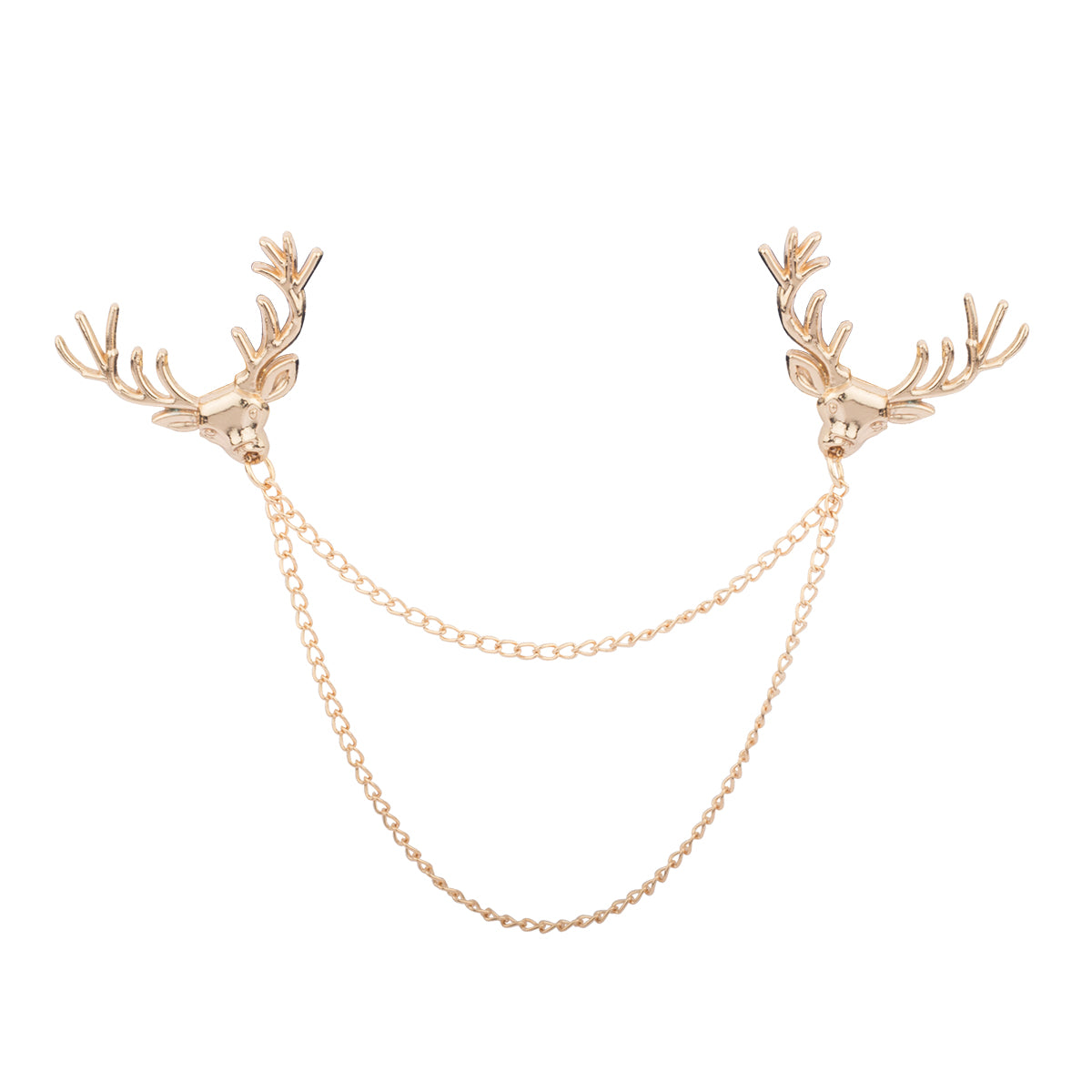 Lending a tinge of luxury to your formal wear, this refined collar pin is set on a gold undertone with a double chained necklace and reindeer on top.