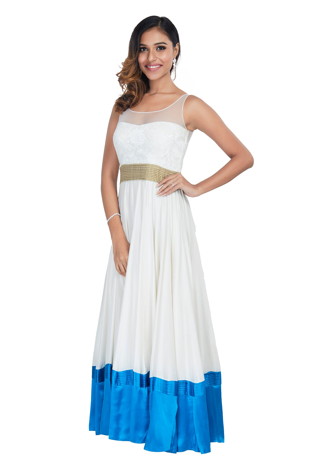 What you see is what you get in this gorgeous understated white gown with a pop of blue colour at the hem.