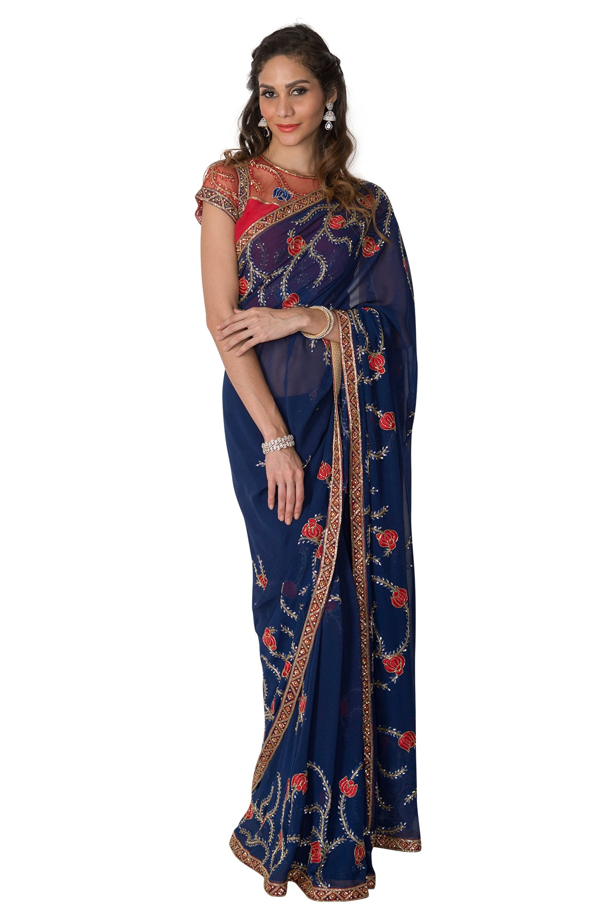 Bring on the moody blues and put on your dancing shoes in this stunning blue saree with red embroidery. Please note that the blouse and petticoat are not included.