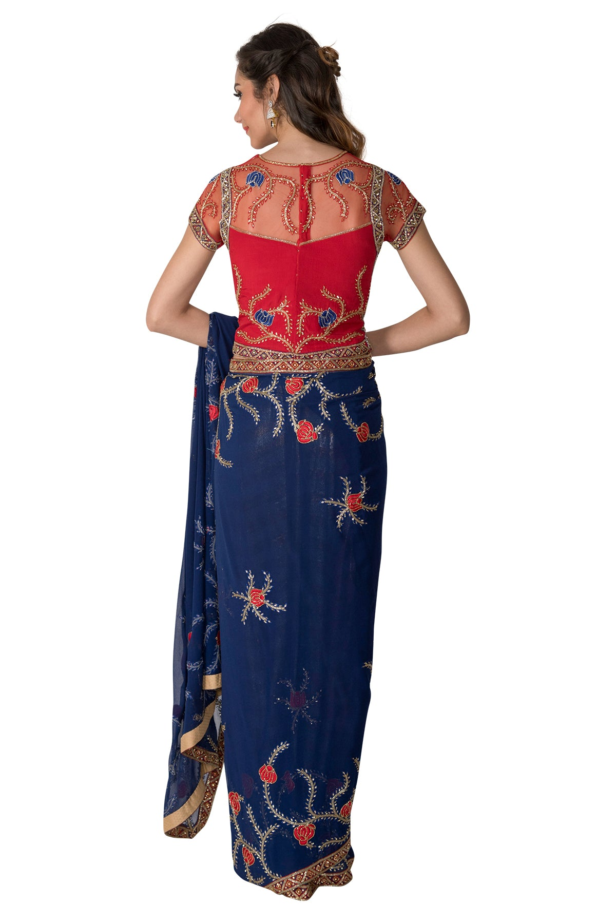 Royal Blue Saree With Red Flowers