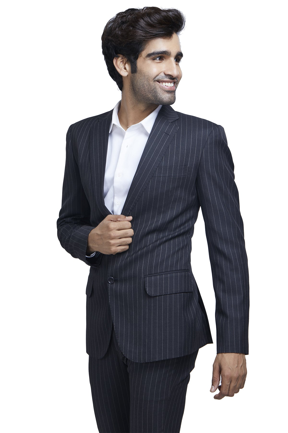 Black wide striped suit
