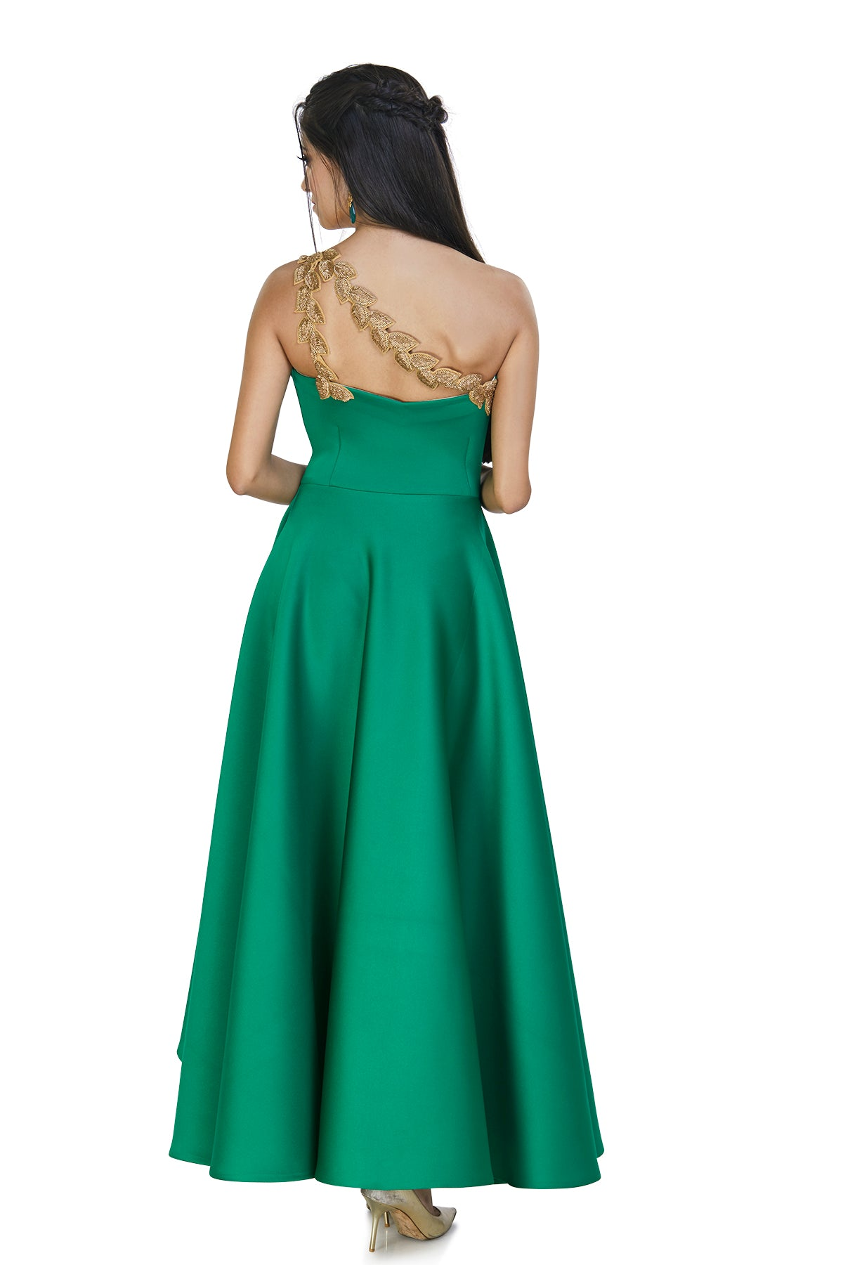 green one shouldered gown