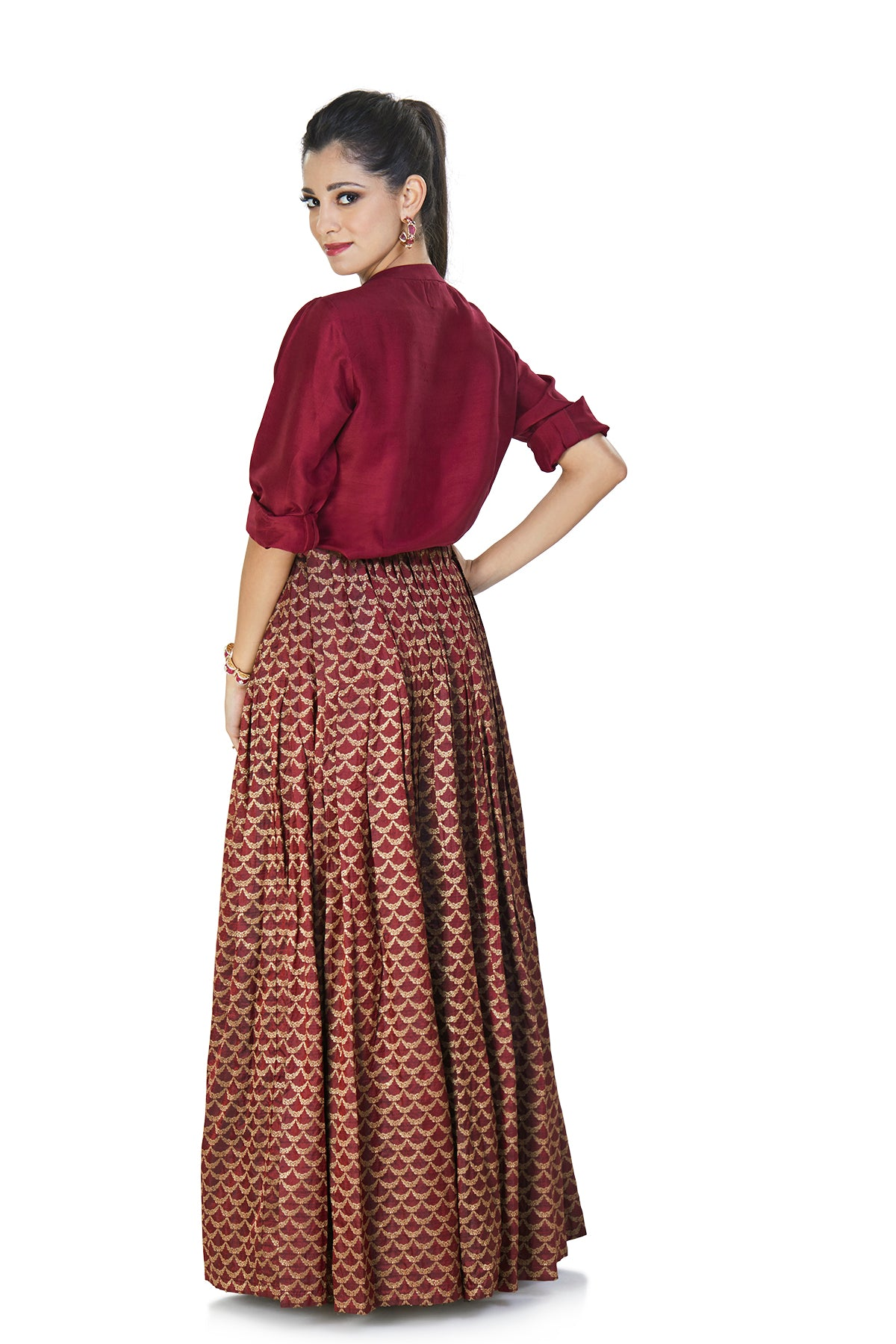 Maroon shirt and skirt set