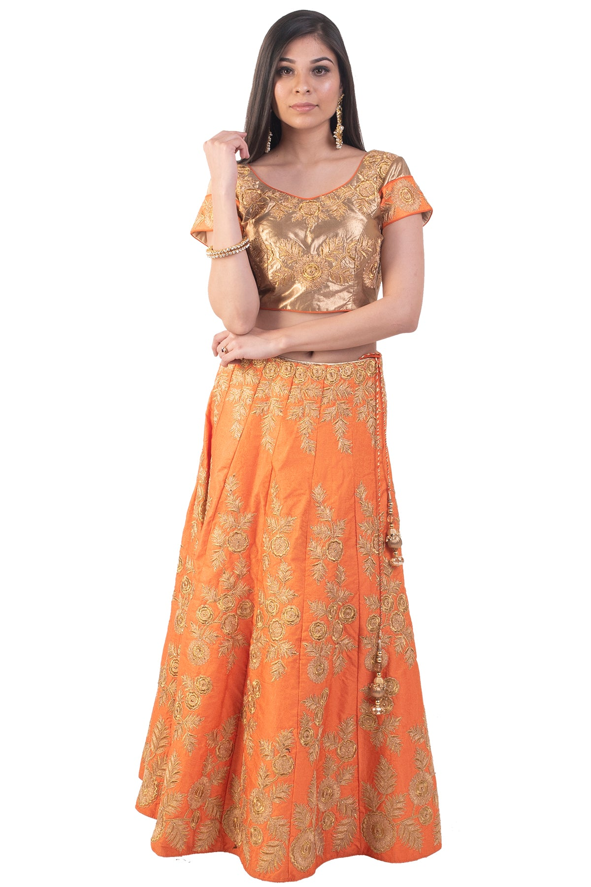 Orange Lehenga With Gold Floral Work