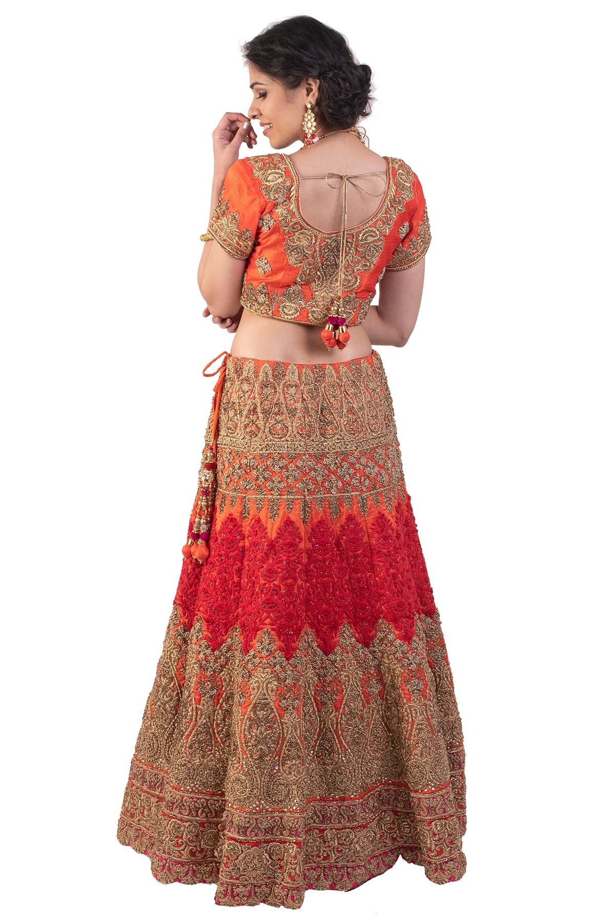 Orange And Red Bridal Lehenga