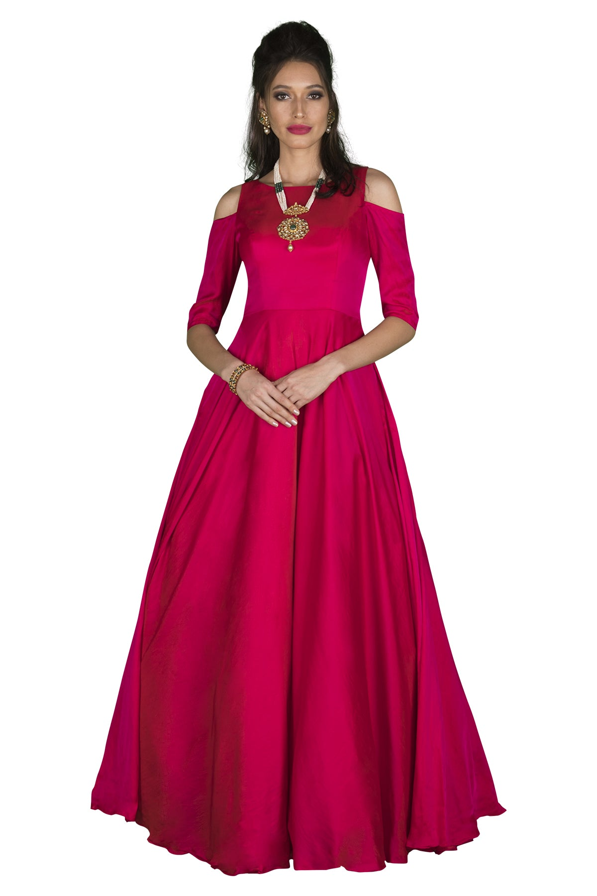 Stand tall and pinkture perfect in this flowy, cascading cocktail gown in bright pink silk.