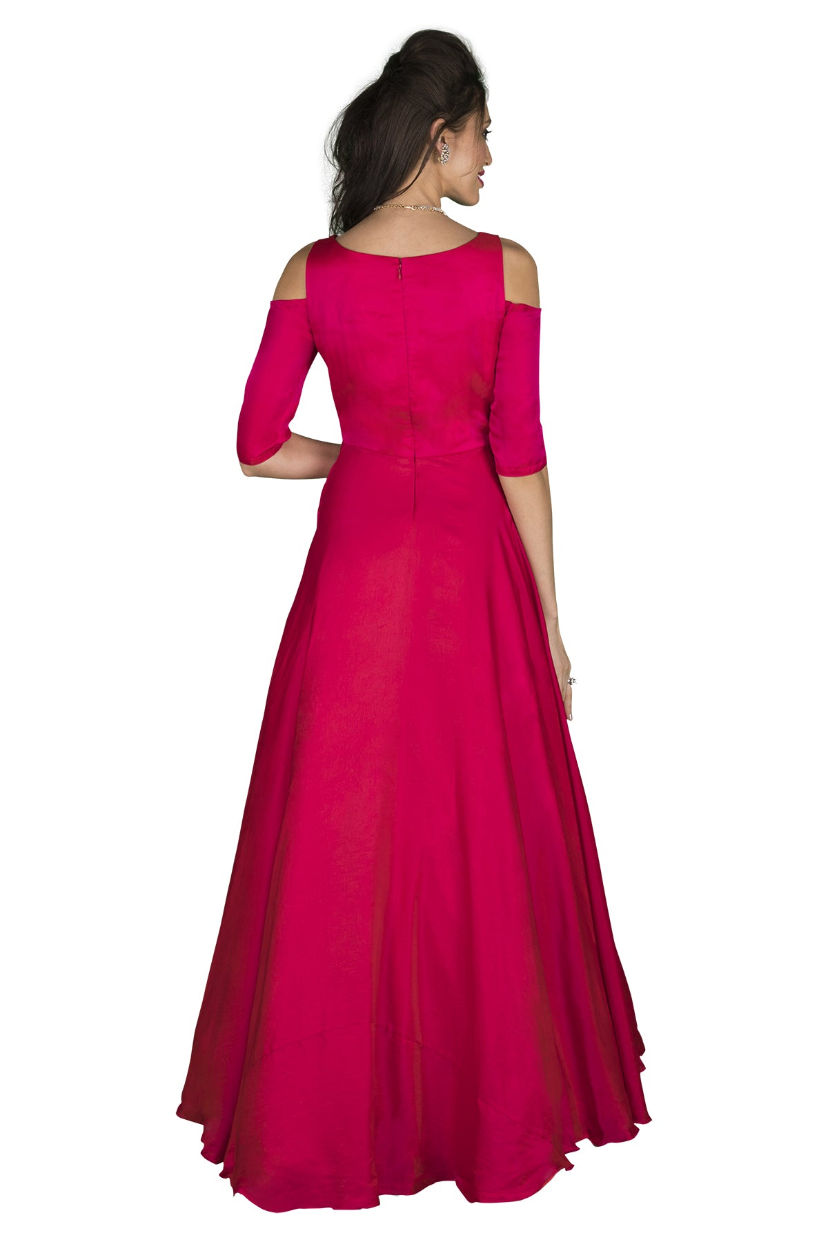 Pink cold shoulder gown