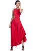 Red asymmetrical gown with butterfly embroidery on shoulder and waist.