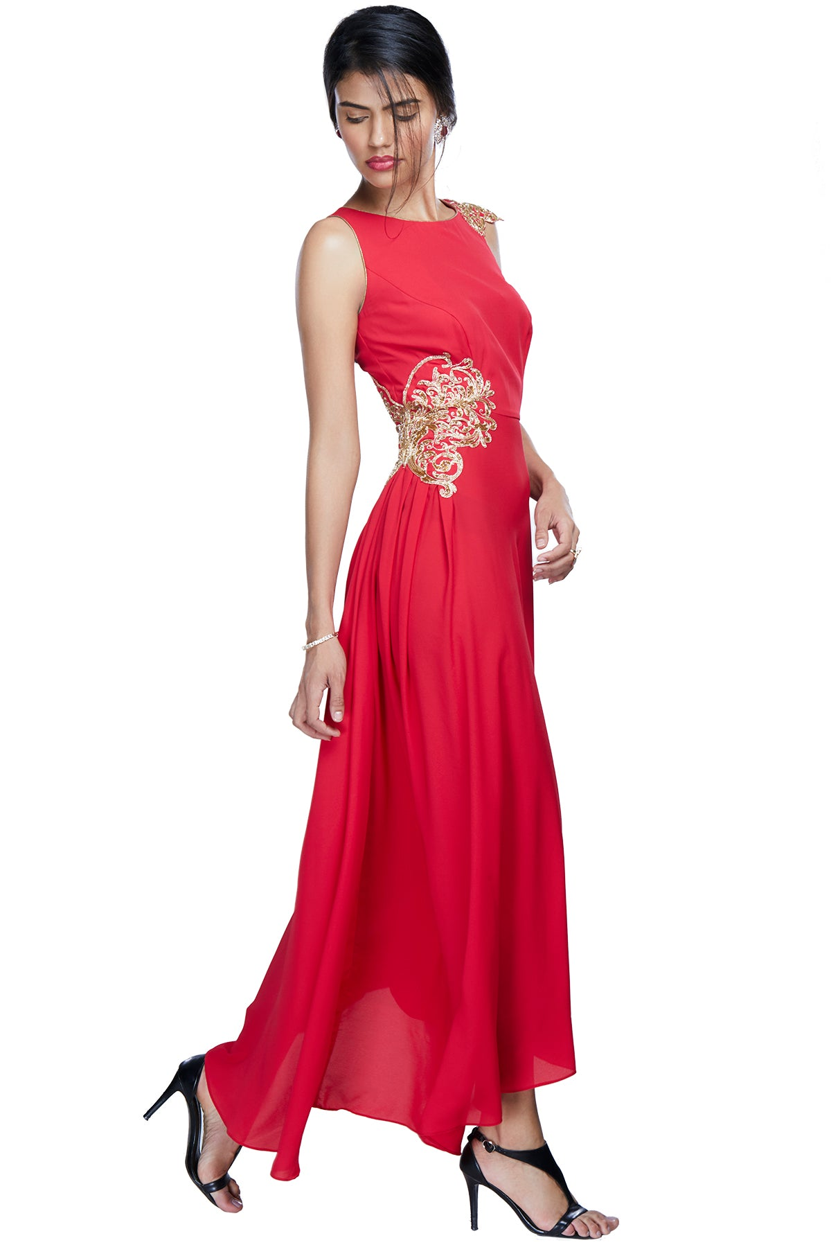 Red asymmetrical gown