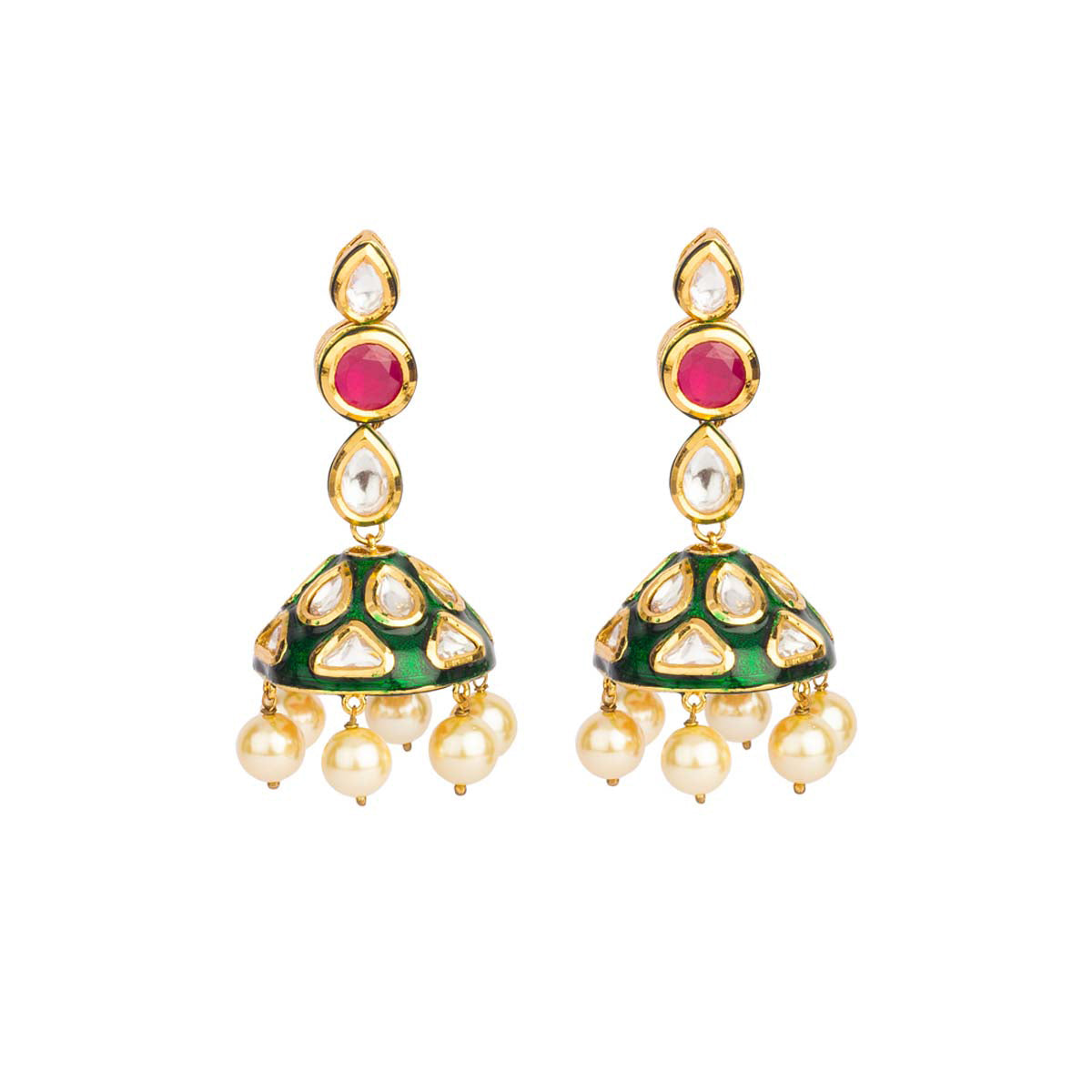 Earthy and overflowing with nostalgia - these uncut earrings are an amalgam of red stones, green jhumkas and pearl drops.