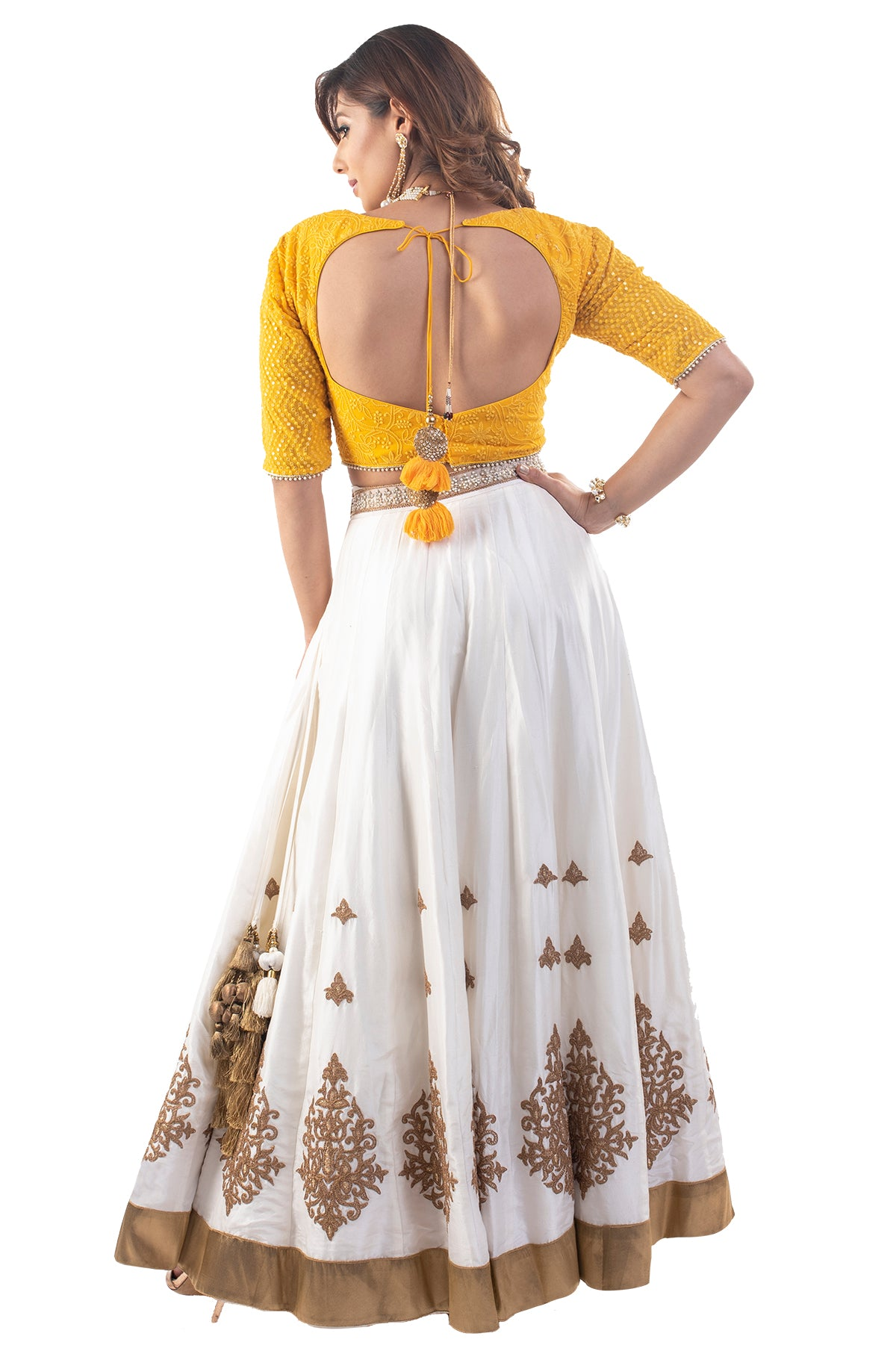 White Lehenga With Yellow Lucknowi Blouse