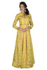 Look smart in this yellow jacket lehenga with silver detailing. It has a sleeveless anarkali/gown on the inside with an embroidered jacket on the top.