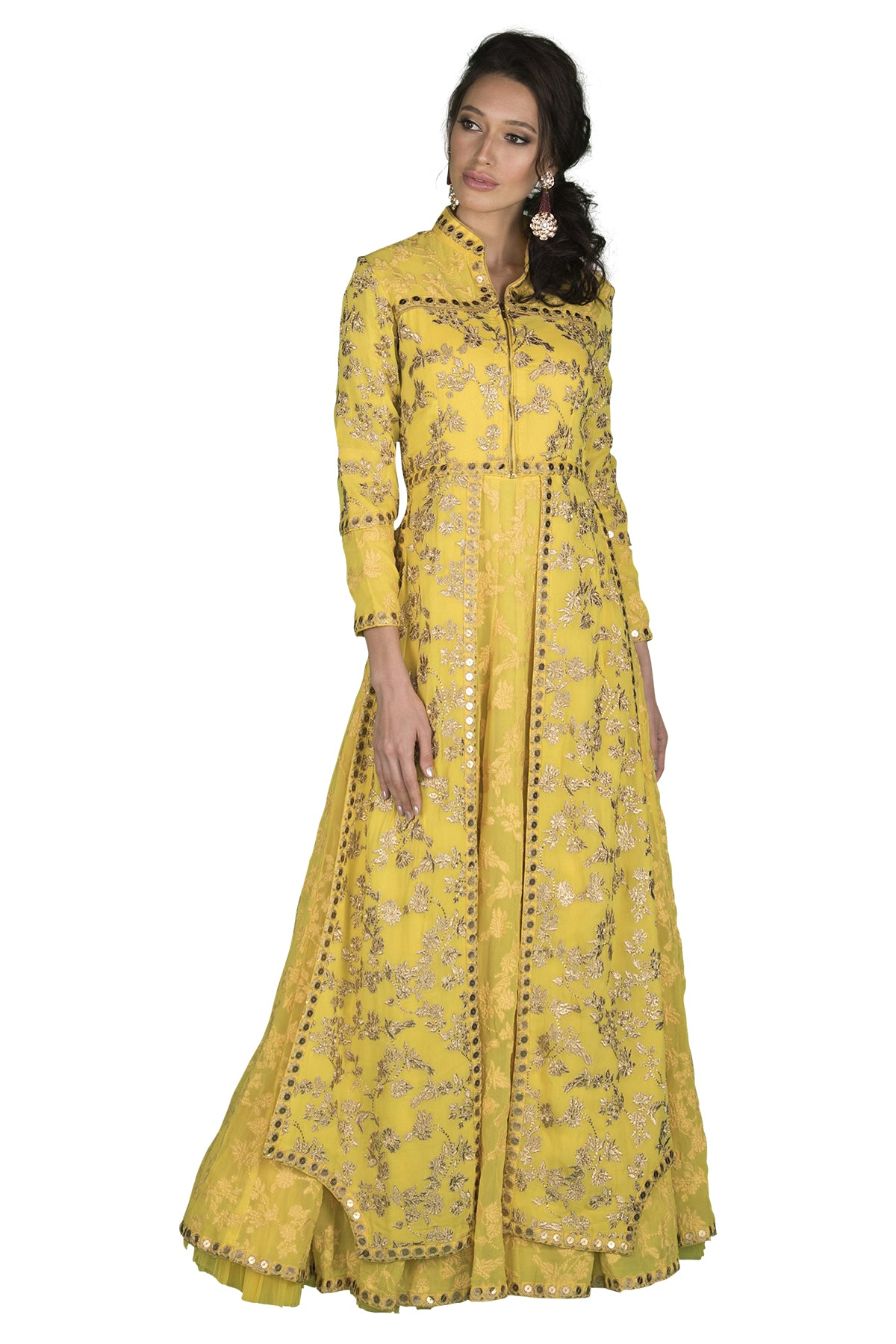 Yellow embroidered jacket gown
