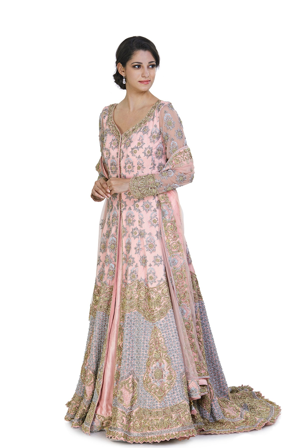 Baby pink lehenga with long top and dupatta