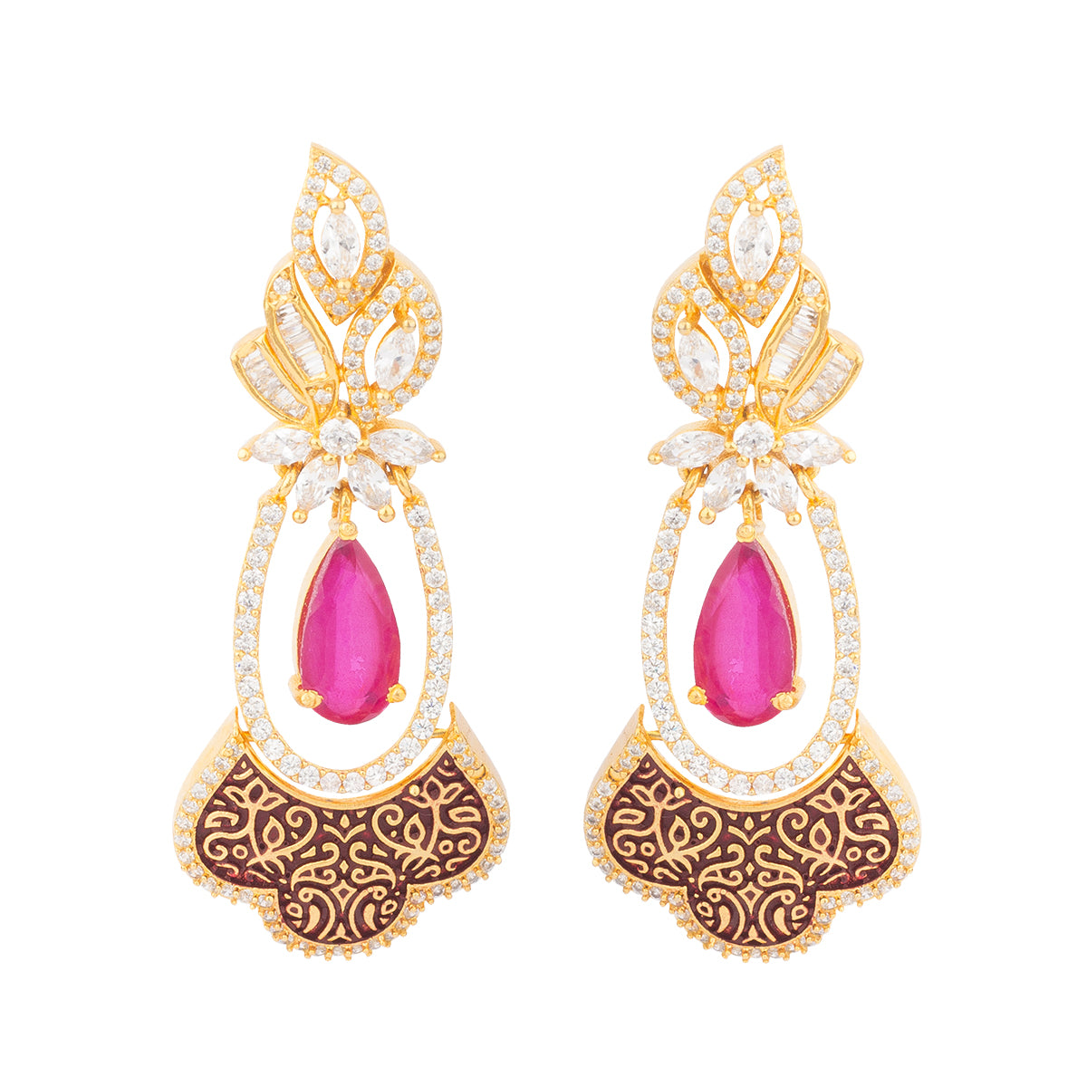 This earring is curated with shiny crystals, red tear drop shapped stone in the middle and beautiful design at the bottom.