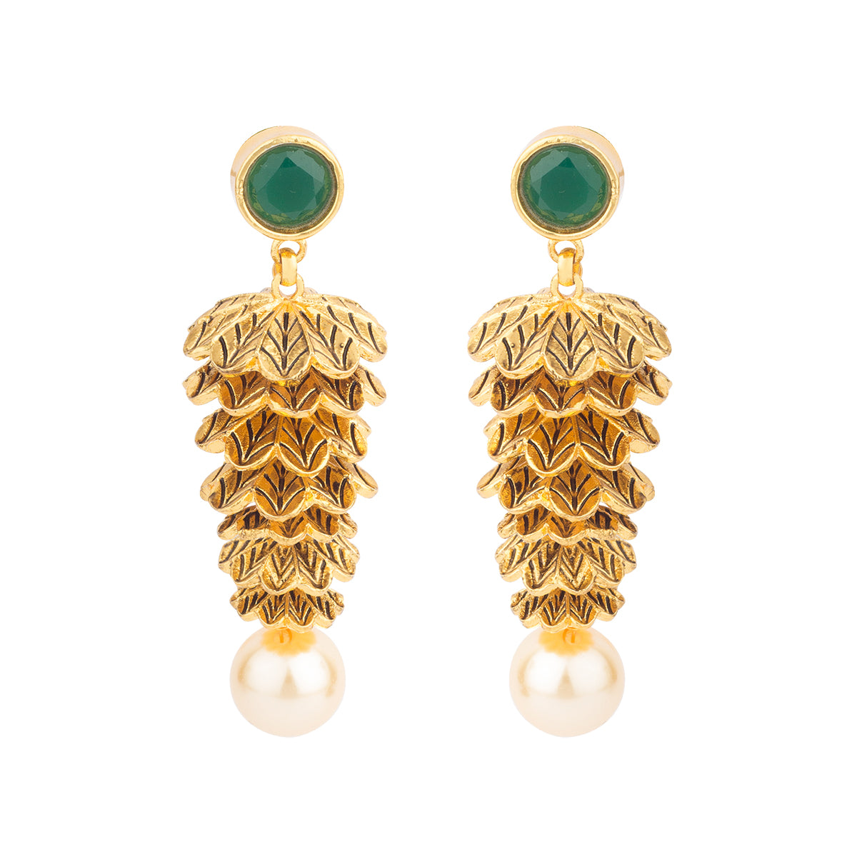 Layers of leaves- This earring is curated with a green stone at the top with a white pearl hanging.