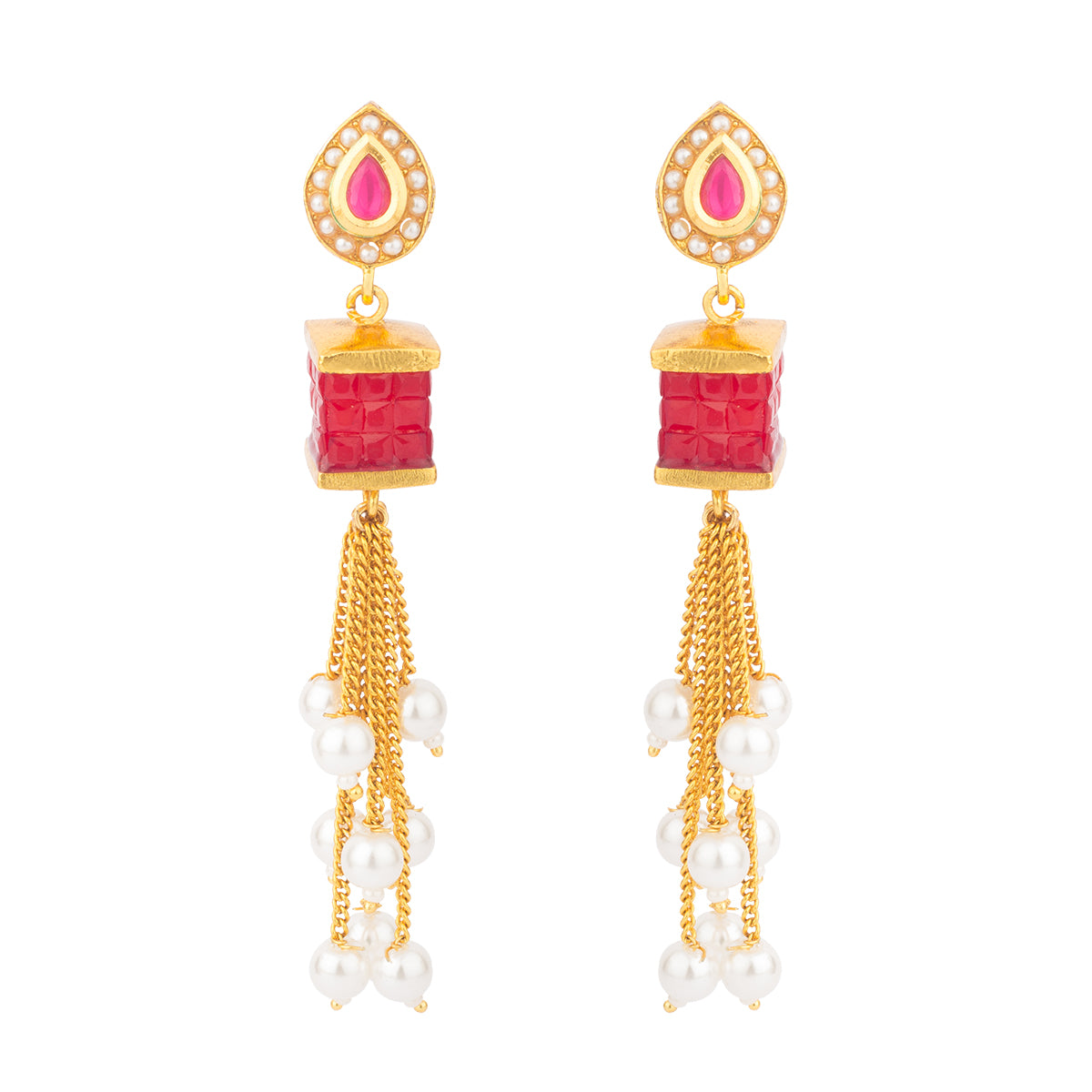 With a lovely color, this earring is carved in a box shaped stone and strings hanging with pearls making it uniquely gorgeous.