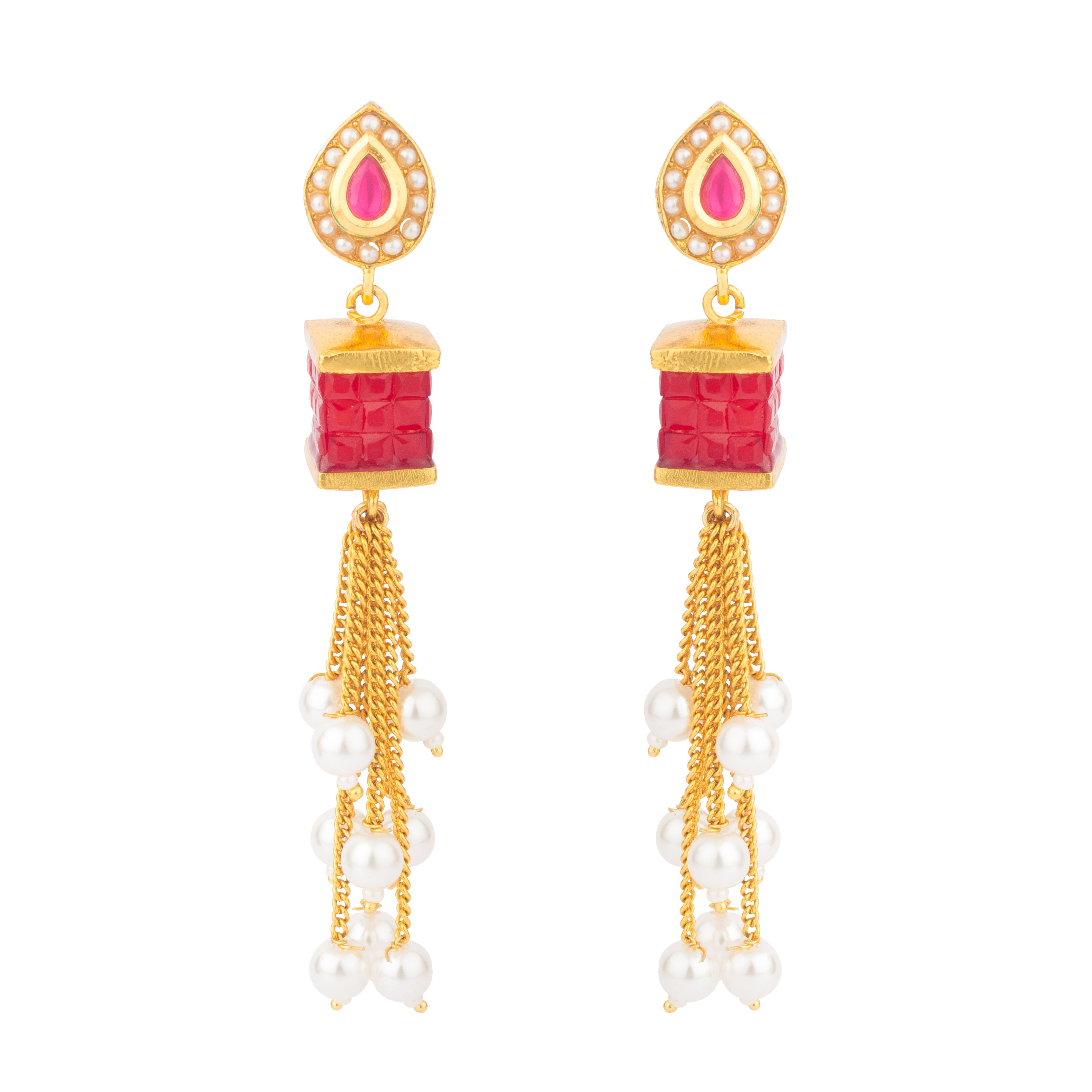Pink box shaped earring