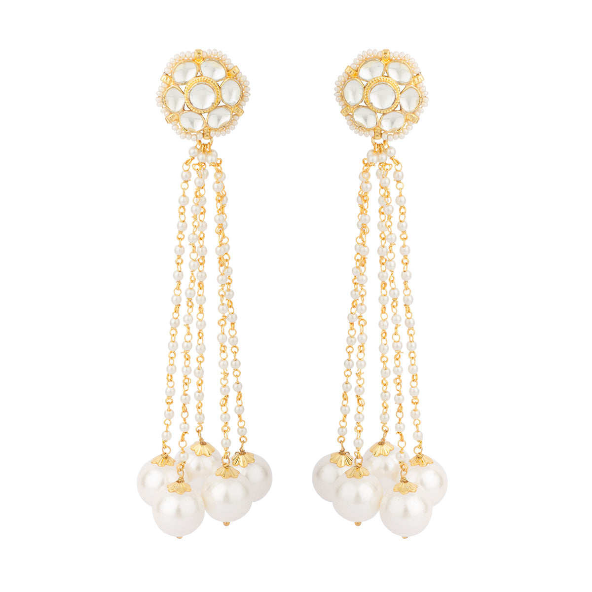 With pearl strings hanging and shining pearls embellished in it, this earring looks like a flower when you wear it.