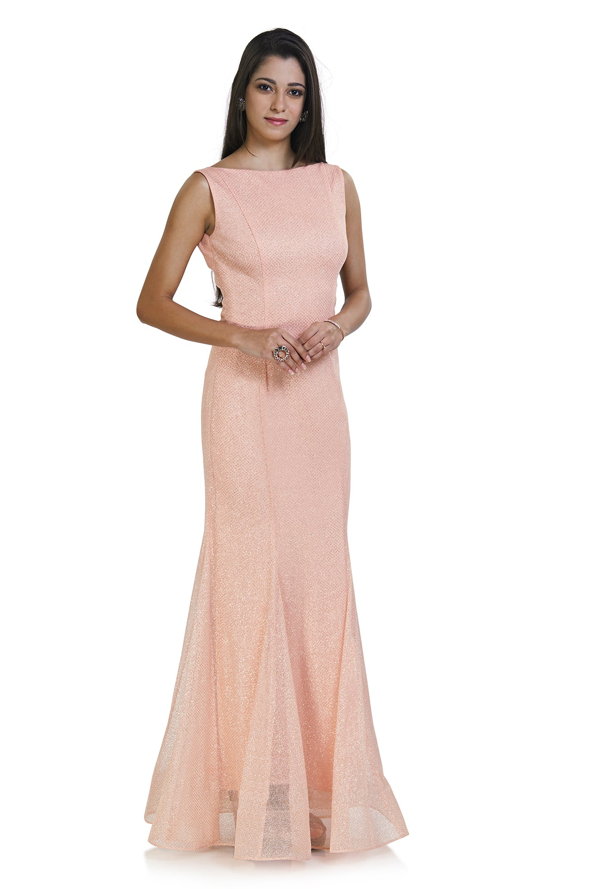Get the party started with this classy baby pink gown and sparkle all through the night.