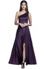 With a tight-fitted bodice to flaunt your curves and a one-shoulder style to have heads turning, make all the right vows toward high fashion with this Purple double layered cocktail dress that is short on the inside with a pleated full-length polyester drape.