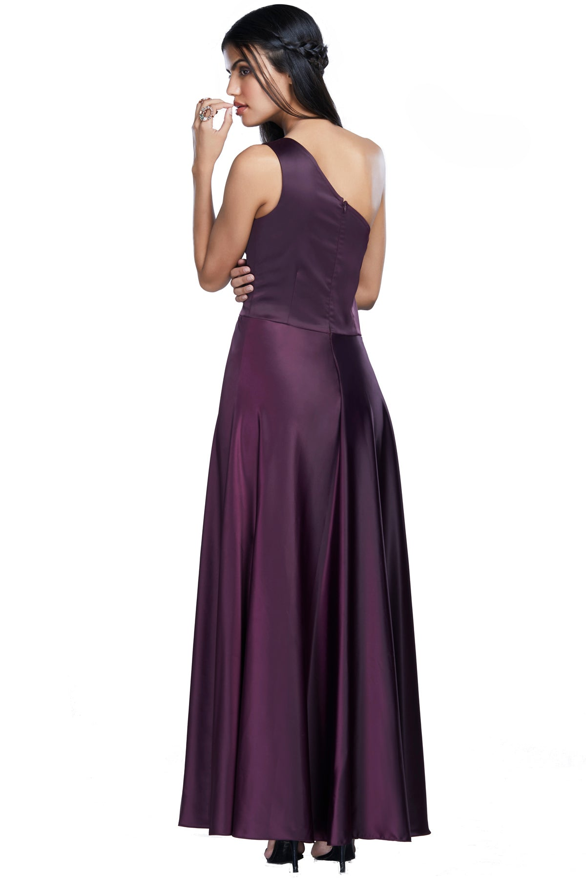 Purple One Shoulder Cocktail Dress