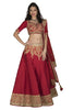 Red lehenga with gold machine work is the perfect lehenga for the bride or the bride's sister
