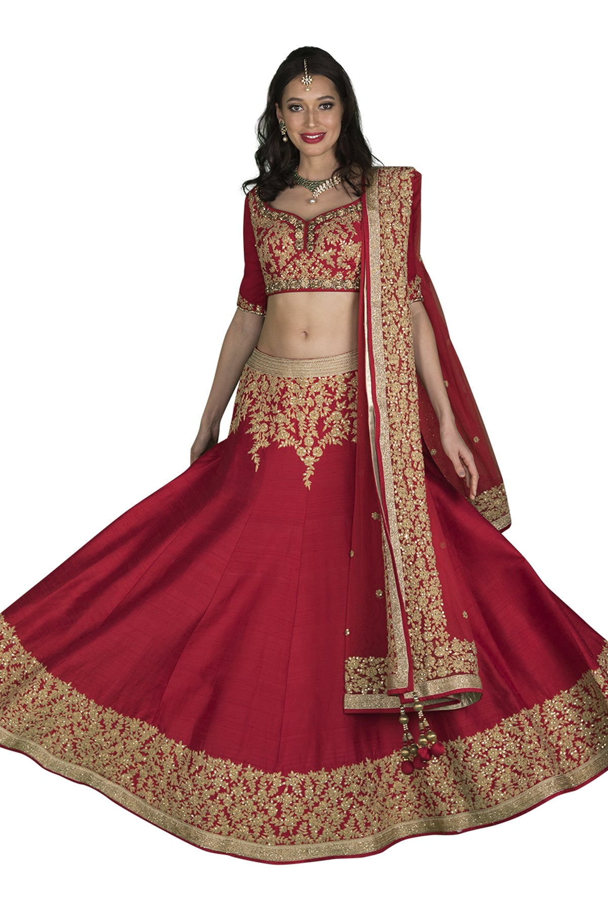 Red and gold lehenga