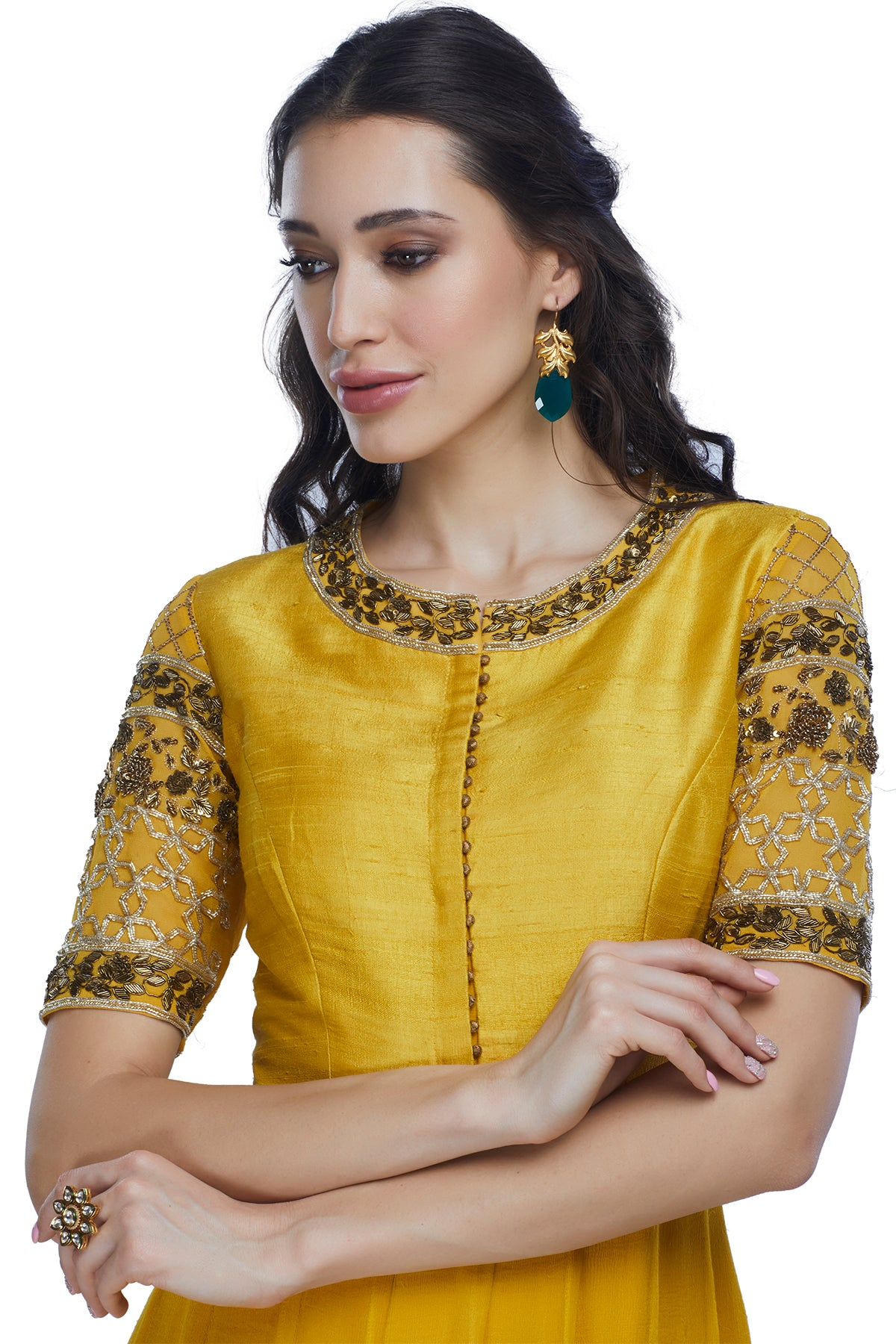 Turmeric Double Layered Anarkali Gown