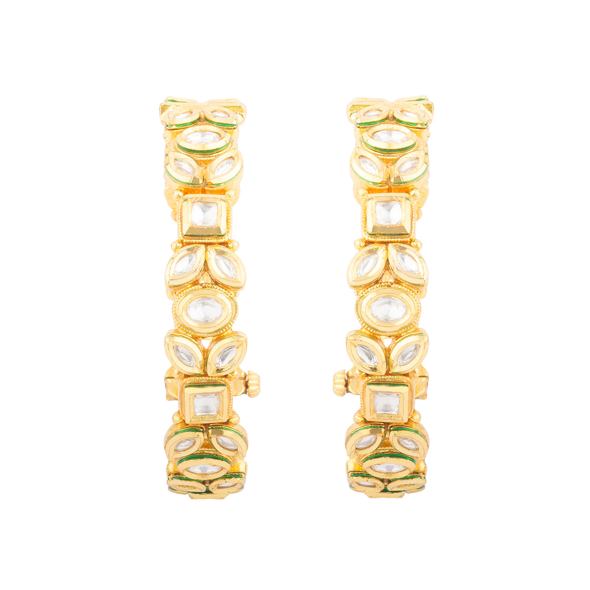 These pair of kadas are finished with uncut stones in floral  pattern giving it a unique look.