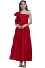 Look drop red gorgeous in this one-shoulder red gown simmering in its silhouette and sealed with its ruffled sleeves.