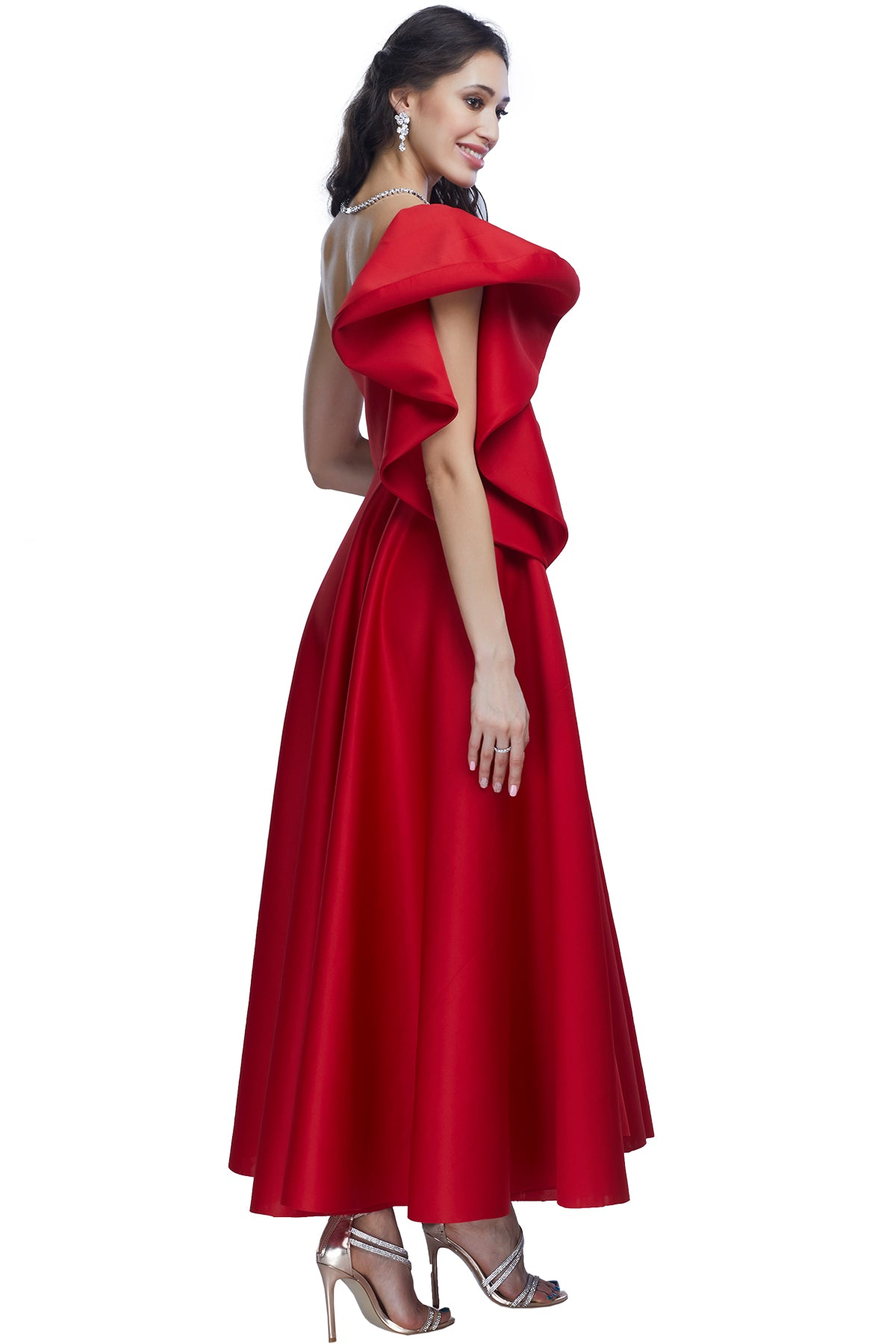 Red one shoulder gown