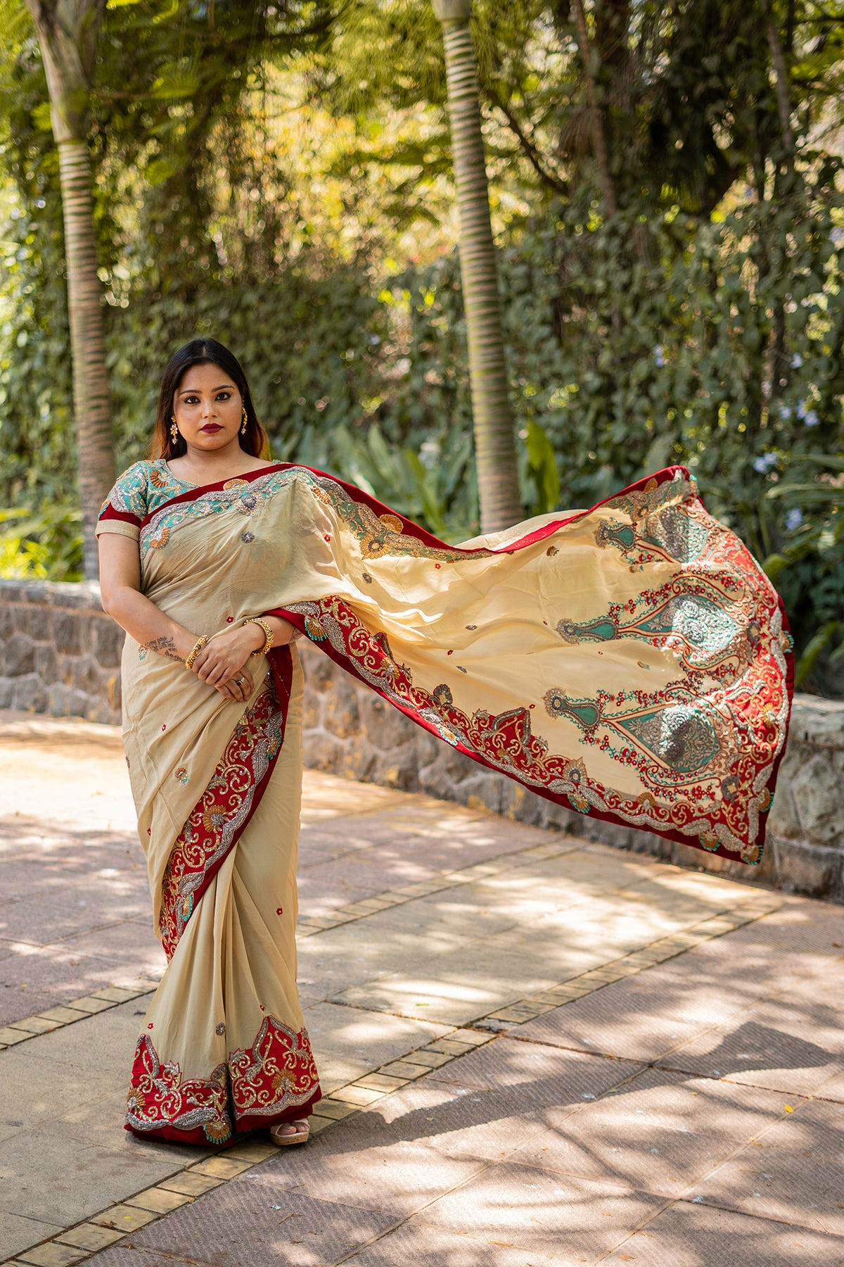 Beige Saree With Red And Mint Embroidery