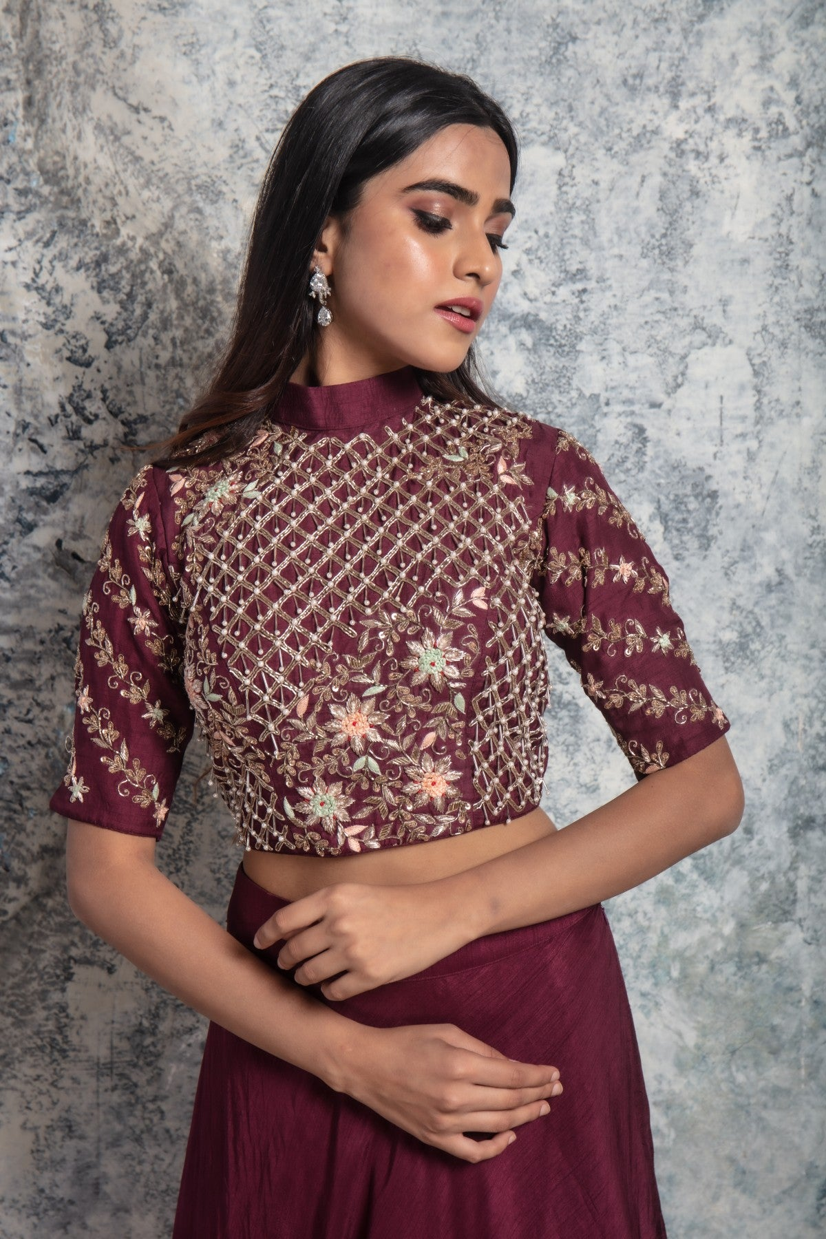 Wine Embellished Crop top with Skirt