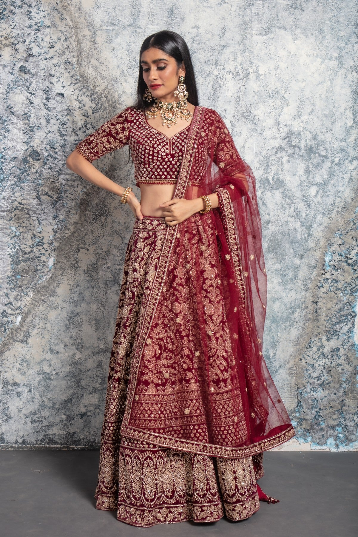Wine Lehenga with Pink Dupatta and Golden Work