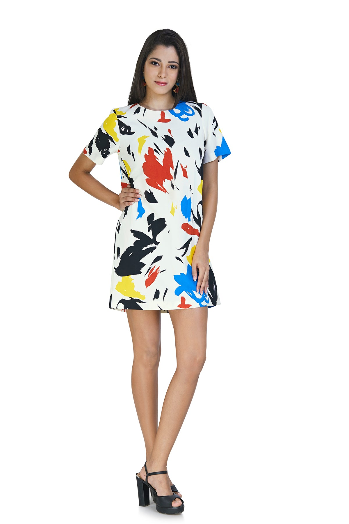 Get your inner artsy side out with this white canvas dress with a splash of colours all over it.