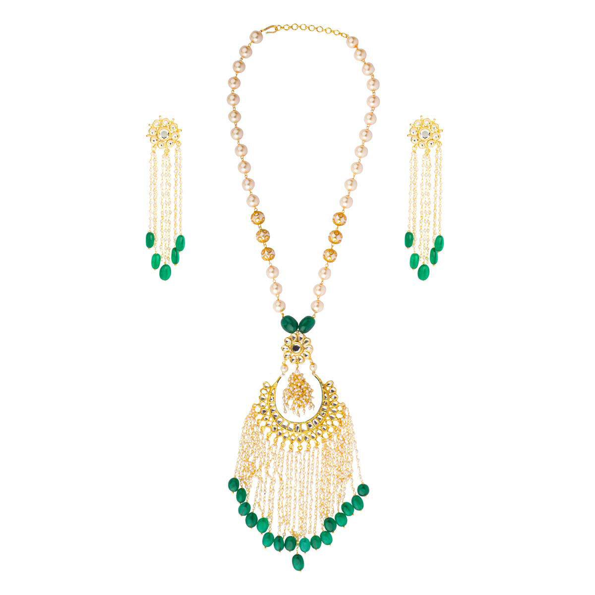 Look euphoric and perfectly put together in this complete set of a necklace & earrings set in kundan with pearl and green stone tassels.
