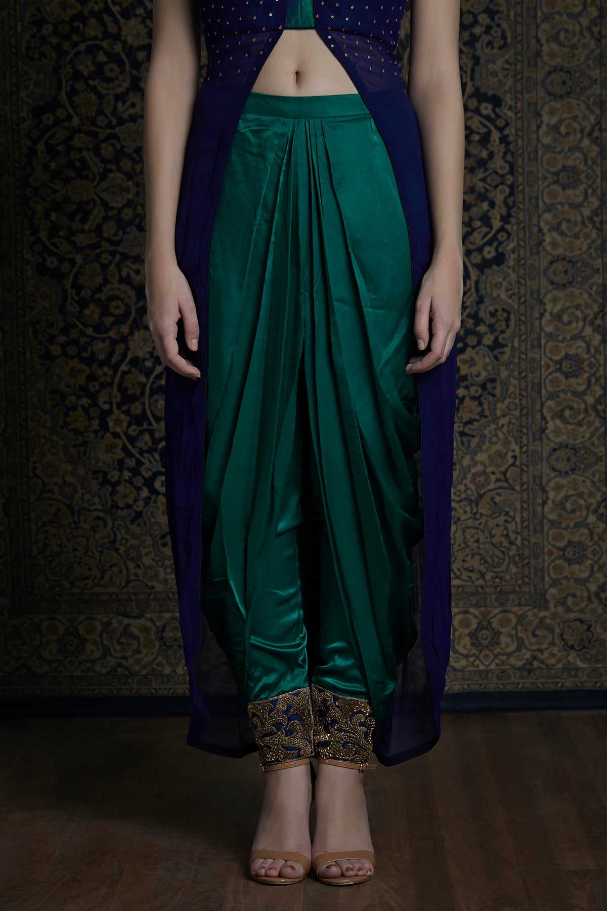 Blue High Low Top With Green Dhoti Pants
