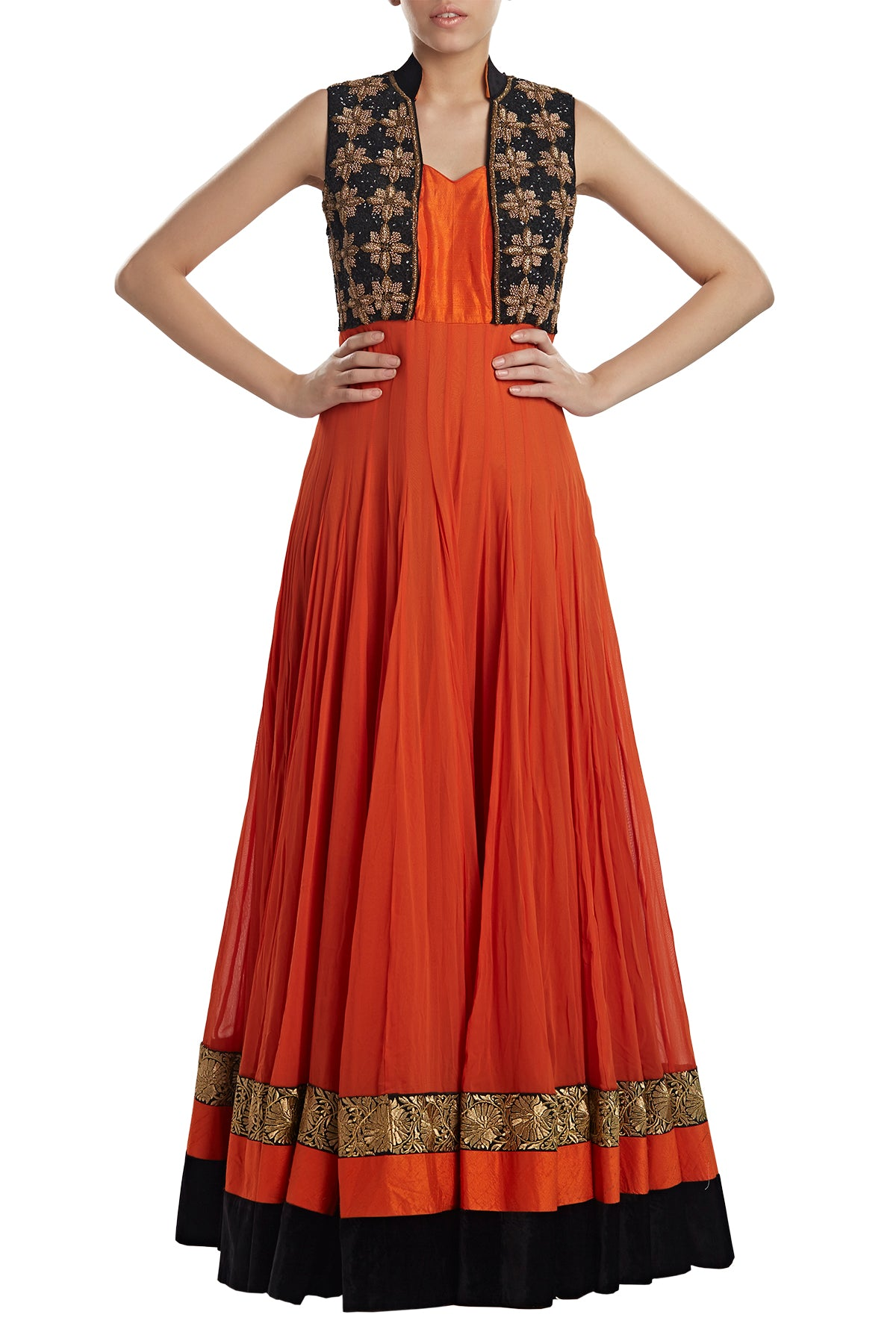 Orange you glad you can get your hands on this one! This georgette anarkali comes in rich black & gold with embroidery and latkans.