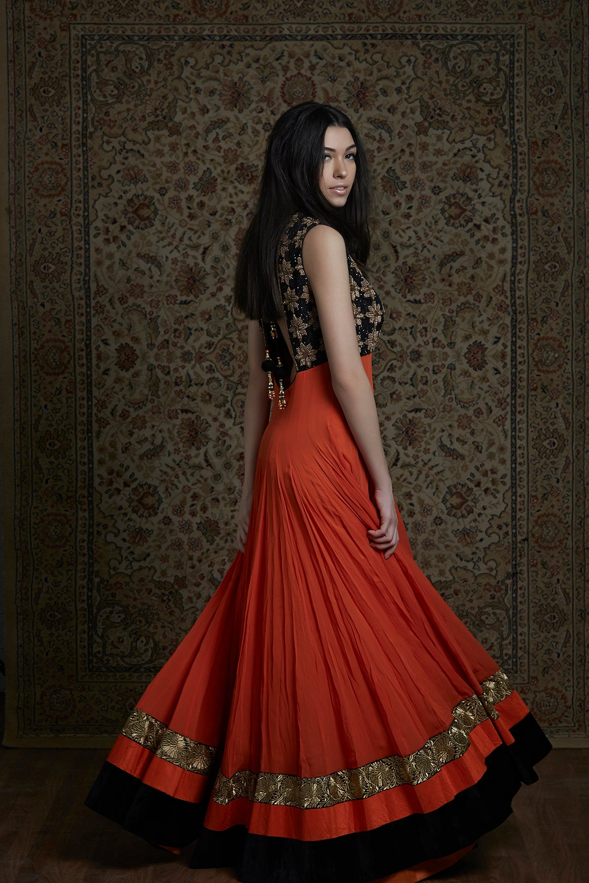 Orange And Black Anarkali Gown