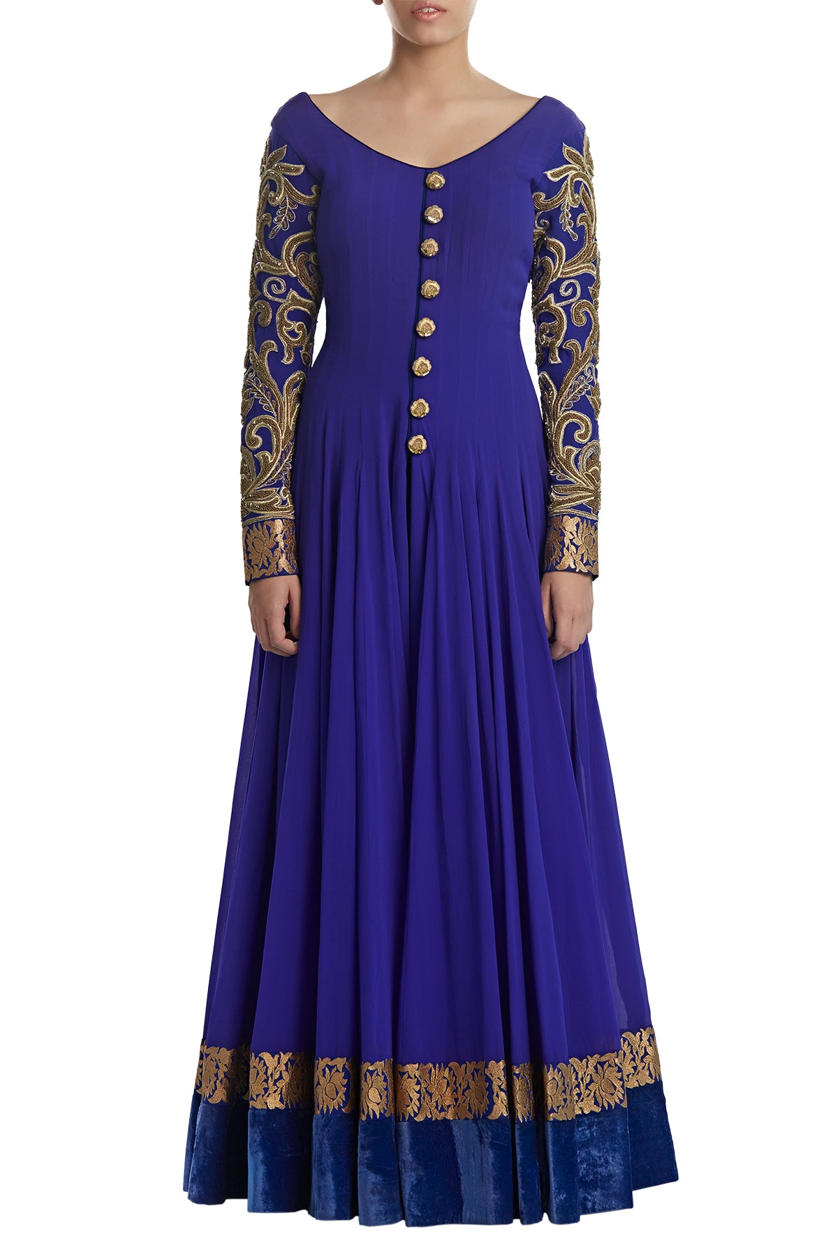Vivacious & vibrant, our violet anarkali set in chic as it is classic. It has buttons down until the waist and fully embroidered sleeves. This outfit does not include pants/churidar.