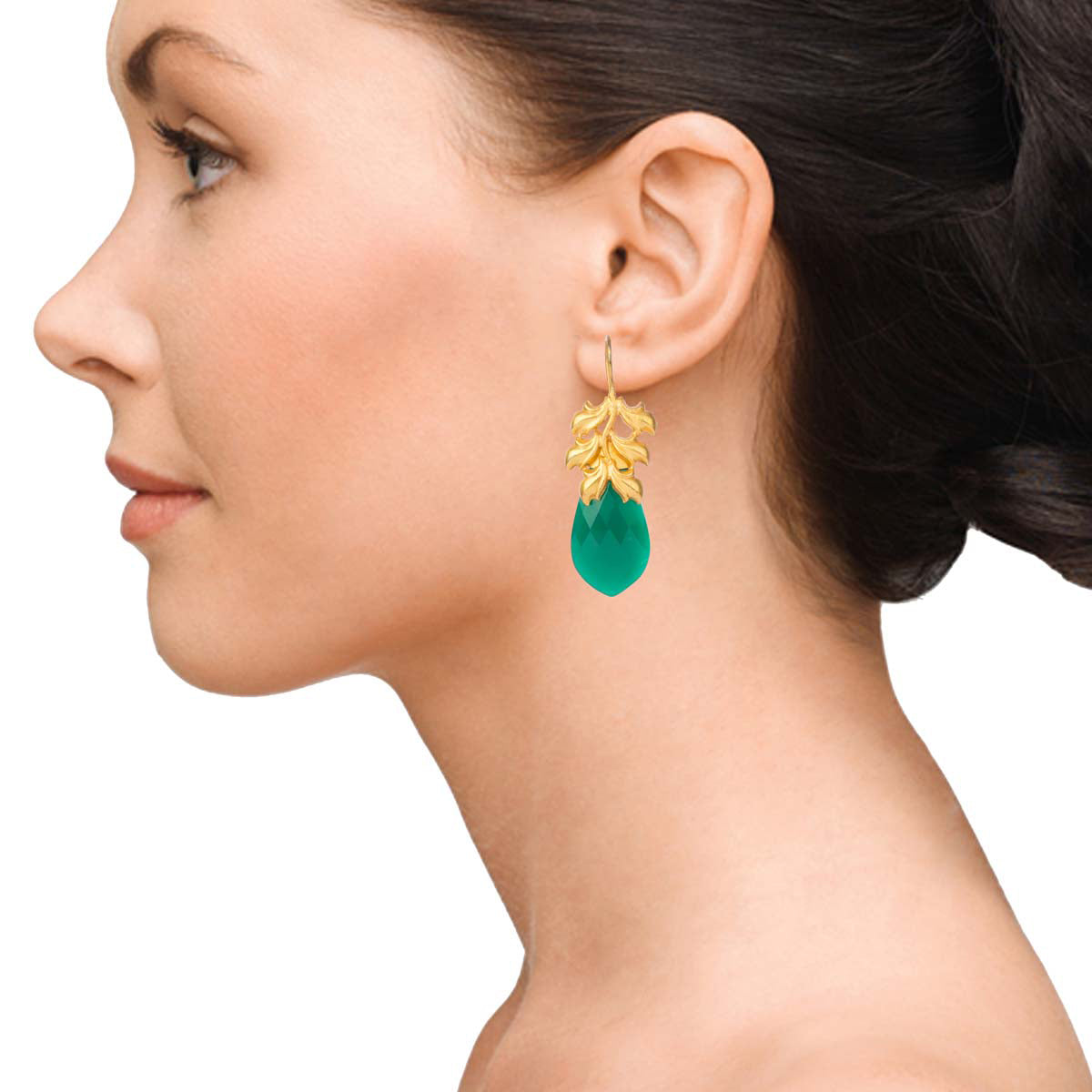 Gold Earrings With Green Drops