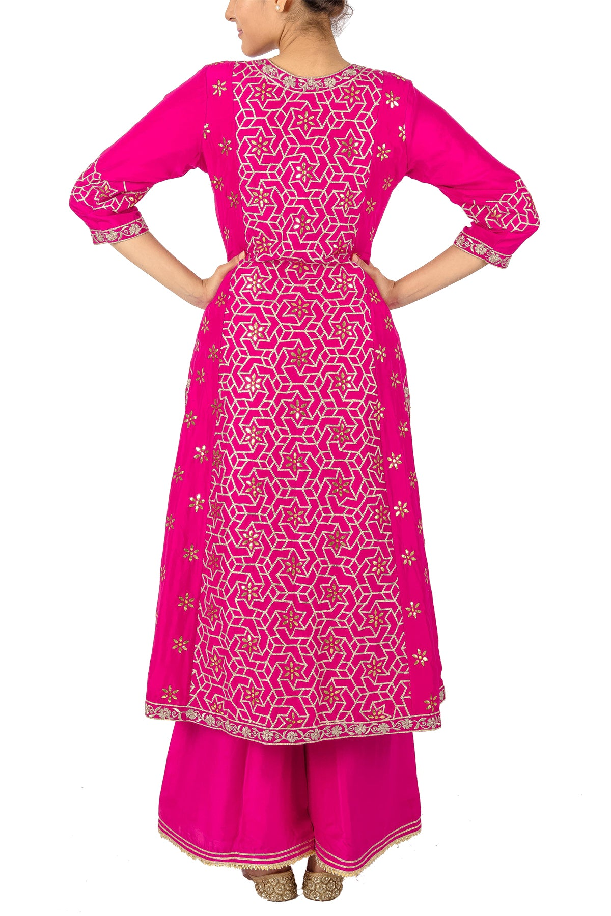 Hot Pink Gota Suit With Palazzos