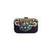 Bring your outfit some essential spice with this black textured clutch with multi colour stones and gold metallic embellishment.