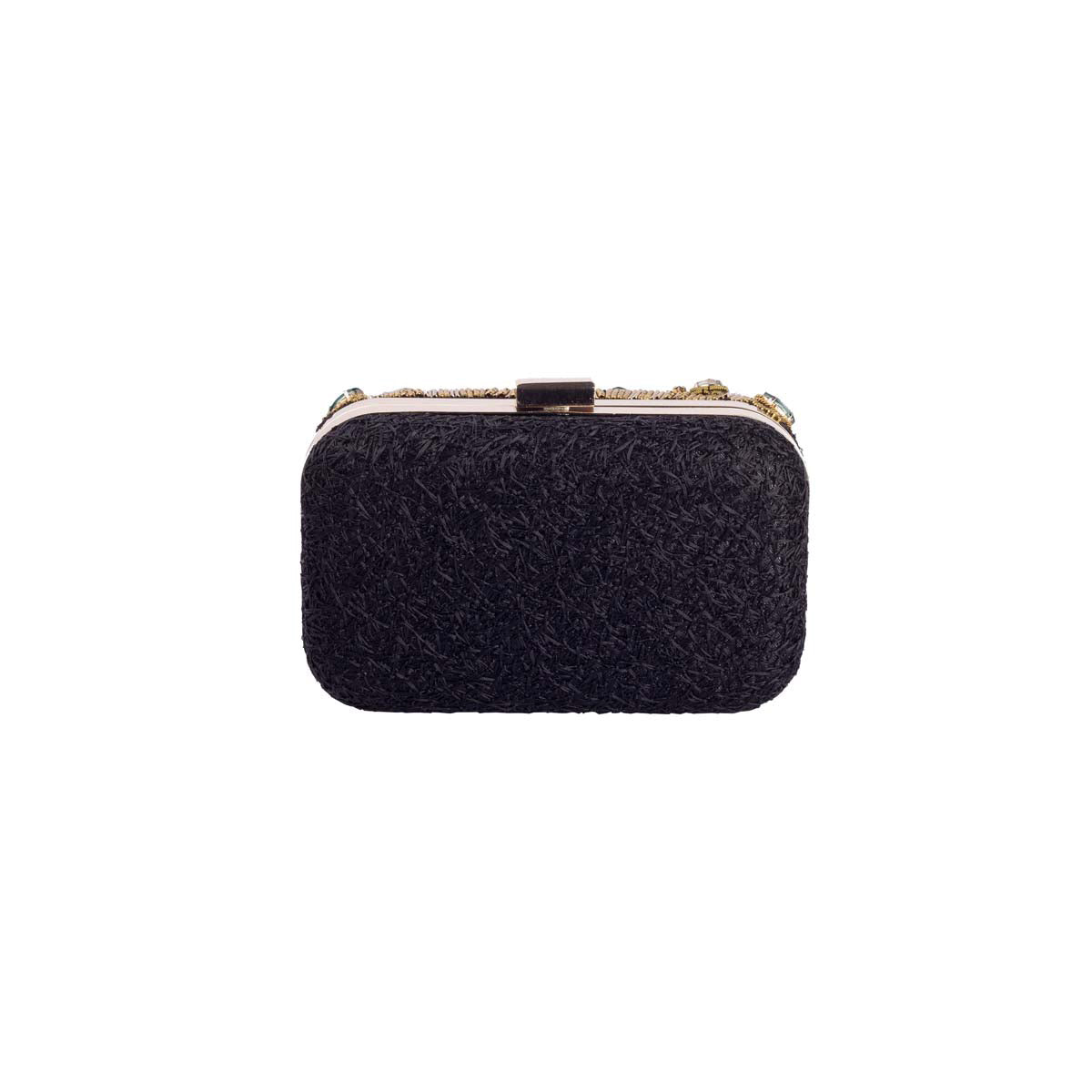 Multi Coloured Stone On Black Clutch