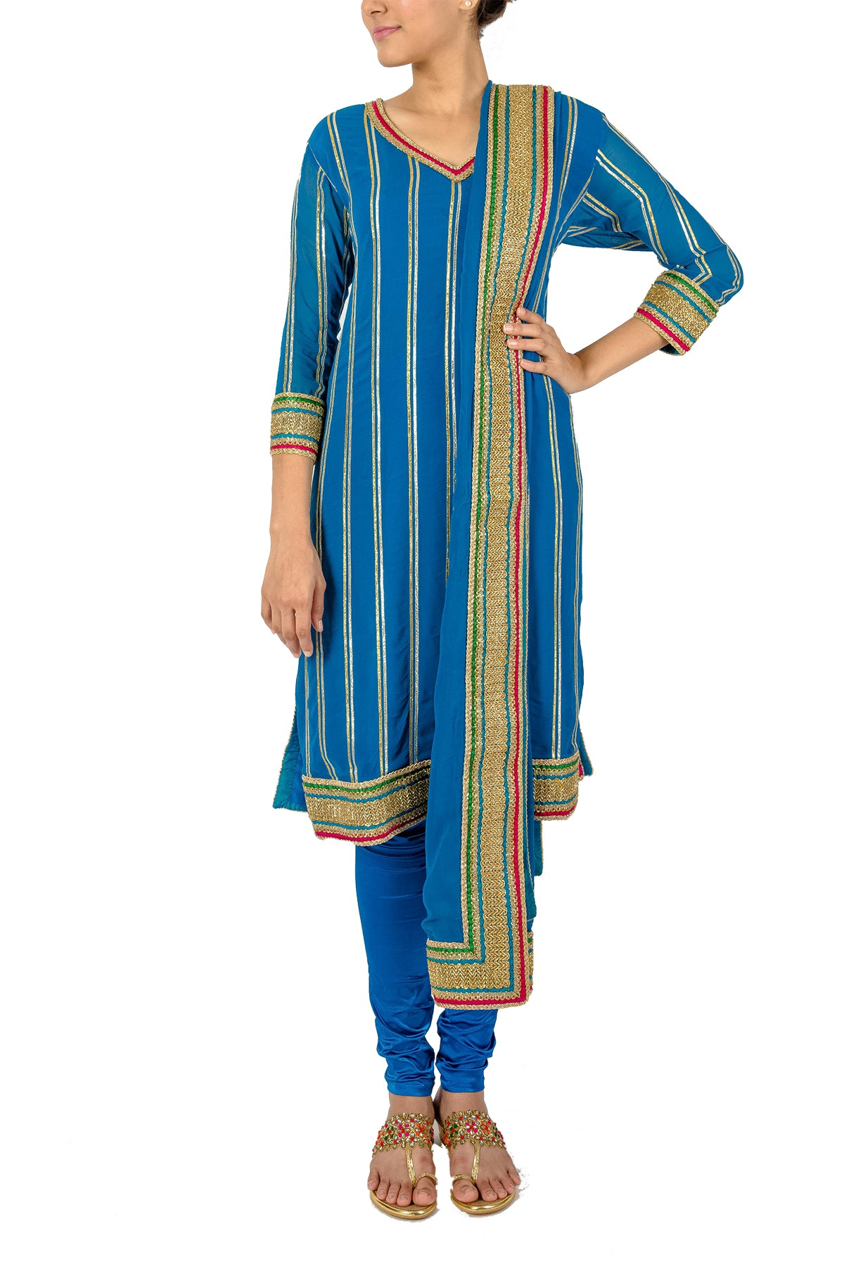Your wardrobe staple be it a festive lunch, dinner, pooja, mehendi or even a wedding - this blue georgette kurta set has gold gota embroidery lifted with green and red.
