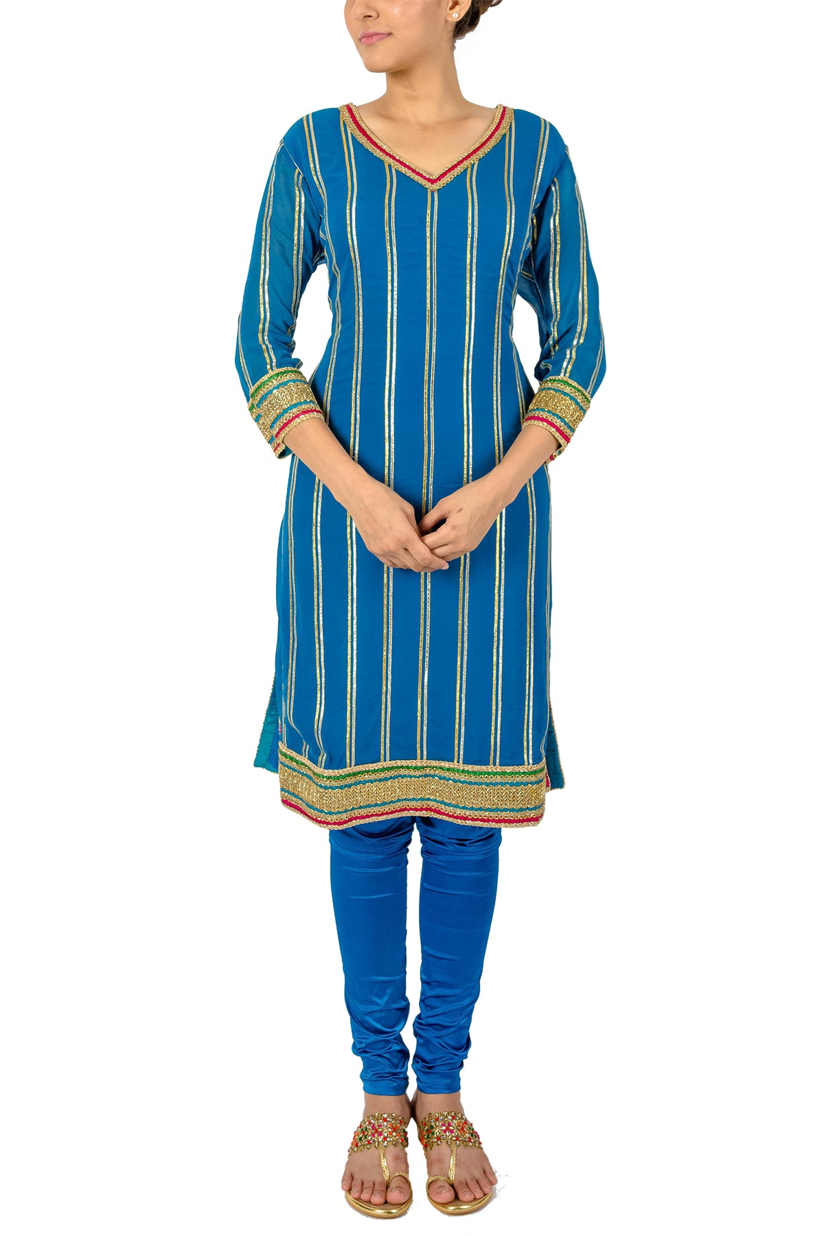 Striped Blue Gota Kurta Set
